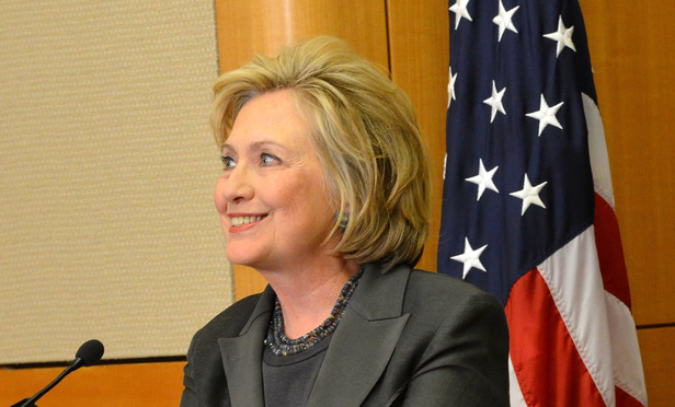 Former Secretary of State Hillary Rodham Clinton delivers remarks at the Groundbreaking Ceremony of the U.S. Diplomacy Center at the U.S. Department of State in Washington, DC on September 3, 2014. Credit: U.S. Department of State via Wikimedia Commons.